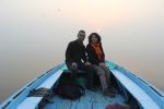 Yun & myself having a sunrise cruise on the Ganges river