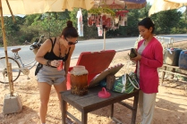Pao & Alessandra tasting some local rice wine