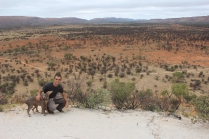 Hiking with Guy and his @ greyhound dogs Kenan & Knoll in the MacDonnel mountain ranges