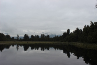 Lake Matheson& Fox glacier on a grey day