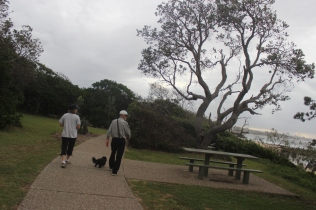 Walking with Ken, Vicki & their dog Ebony near Moloolaba's lighthouse