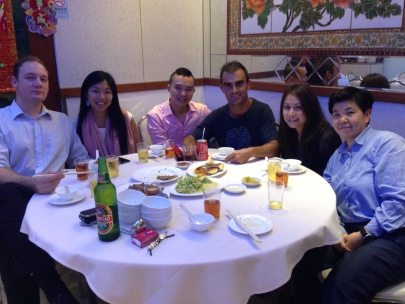Cedric, Celia, Andrew, me, Cali & Wai Lin having dinner @ Hong Kong Island