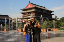 Cindy & me shooting 'The Travel Channel' video @ the Drum Tower