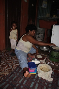 Nani preparing a local Fijian dish with her lovely daughter Kesa