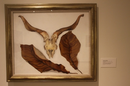 """Georgia O'Keeffe's """"Ram's Skull with Brown Leaves"""" - 1936"""