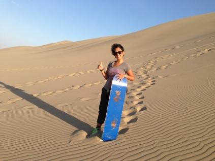Golnaz ready to surf the desert dunes