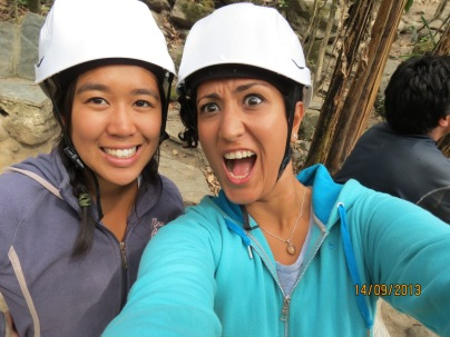 Anita & Golnaz ready for zip-lining !